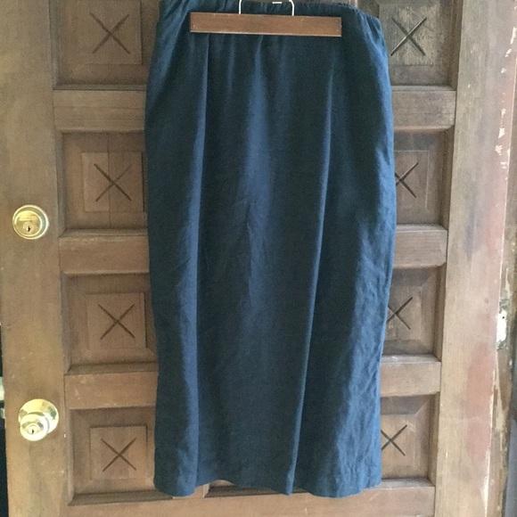 455ea1b10 J. Jill Skirts | Pure Jill Straight Black Linen Skirt W Side Slits ...